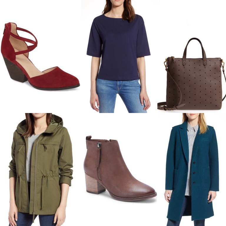 A collage of items from the Nordstrom Anniversary sale, including 2 shoes, 1 bag, 2 coats, and 1 top.