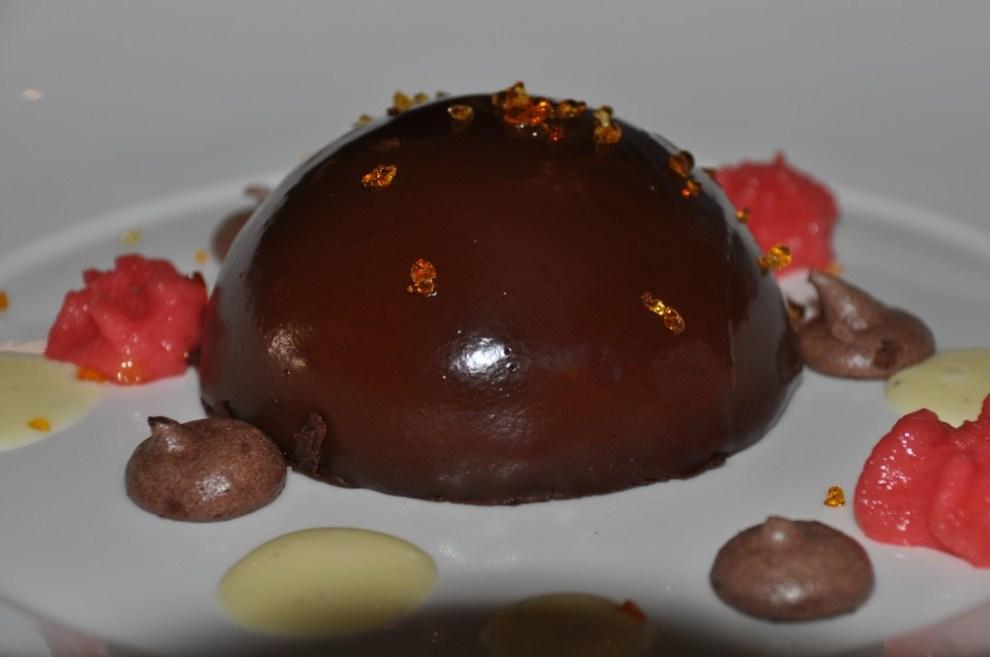 Chocolate mousse bombe cake, raspberry espuma, van creme anglais, choco meringue