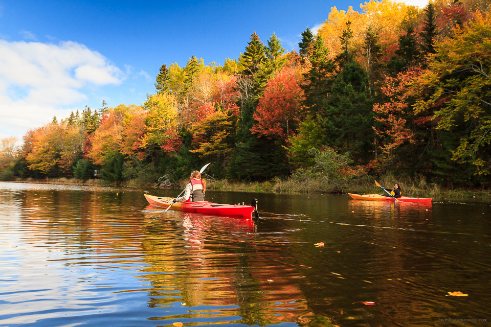 This is a photo of kayaking down a fall river by Stephen DesRoches