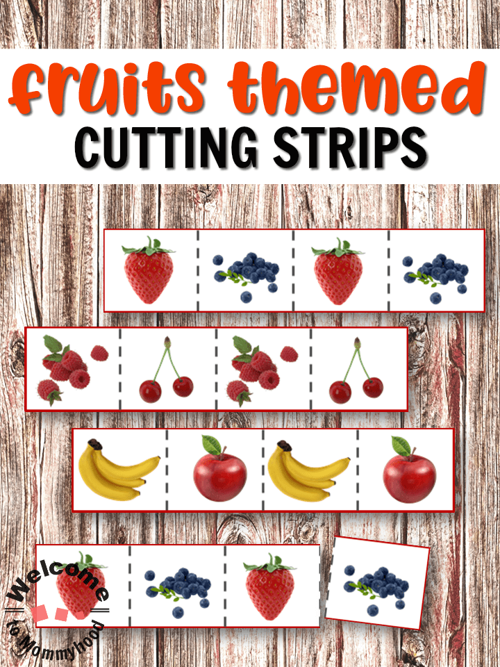 Fruits Cutting Strips for scissor practice for preschoolers! #montessori #preschoolactivities