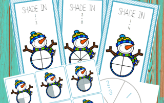 Winter activities: snowman printables - fraction cards and game by Welcome to Mommyhood #winteractivities, #montessori, #homeschoolactivities, #printables