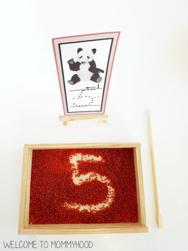 Panda writing tray cards for language centers or Montessori salt tray activities #chinaactivities