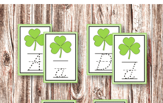St Patrick's Day Activities - Montessori Inspired sand tray writing cards by Welcome to Mommyhood #printables, #homeschool, #montessori, #montessoriactivities, #writing, #preschoolactivities #kindergartenprintables, #totlabs