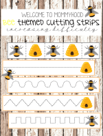 Free Bee cutting strips for scissor practice