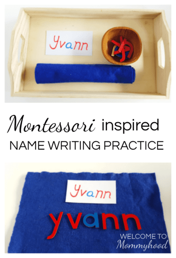 name writing practice #montessori