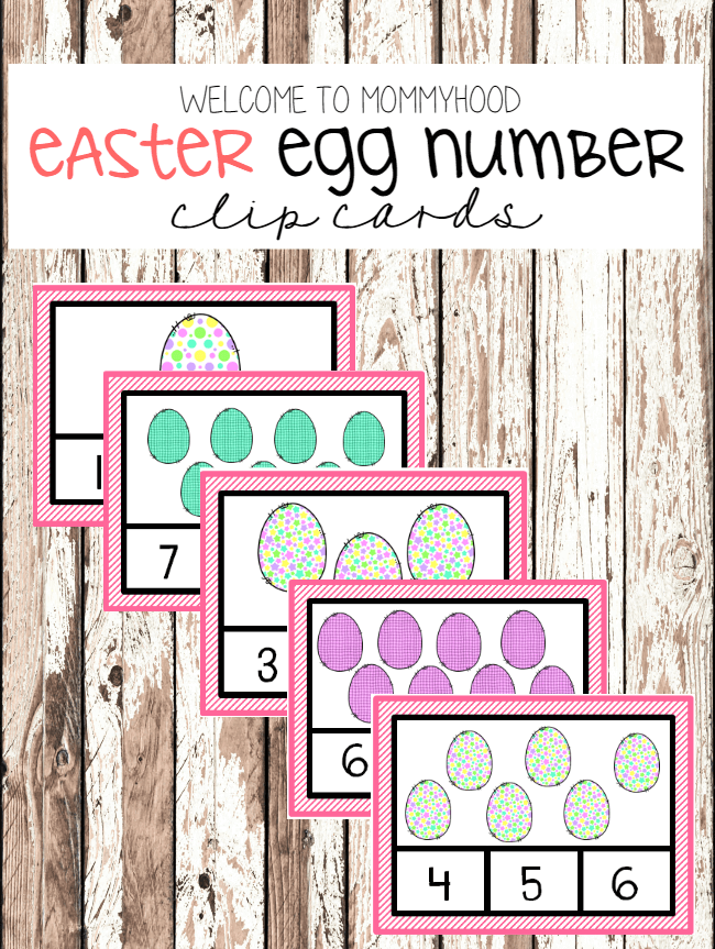 Easter activities for kids: free number clip cards