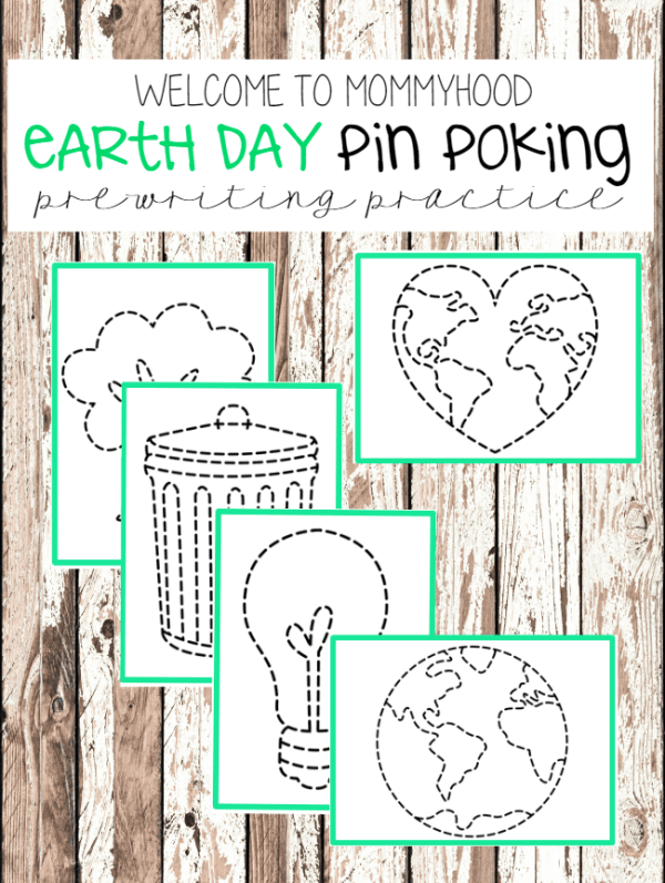 Earth Day Activities pin punching Montessori printables