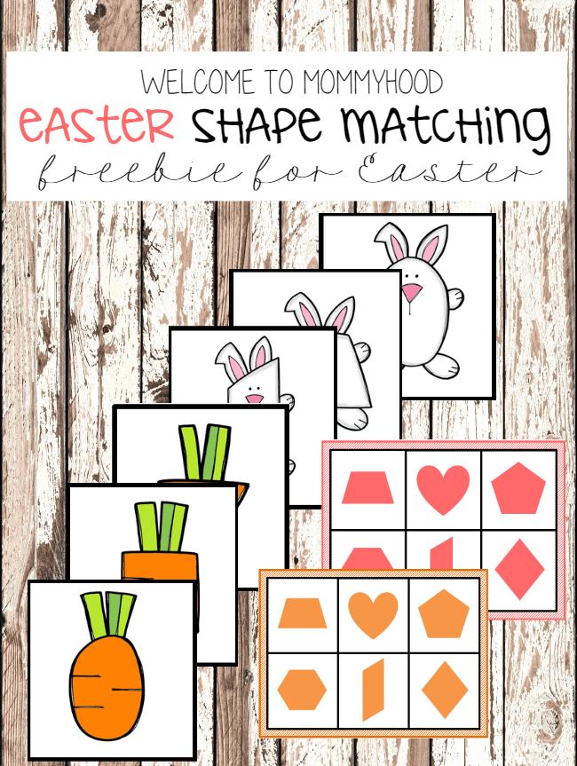 Easter preschool activities: Easter shape matching