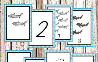 montessori countng printables shark printables