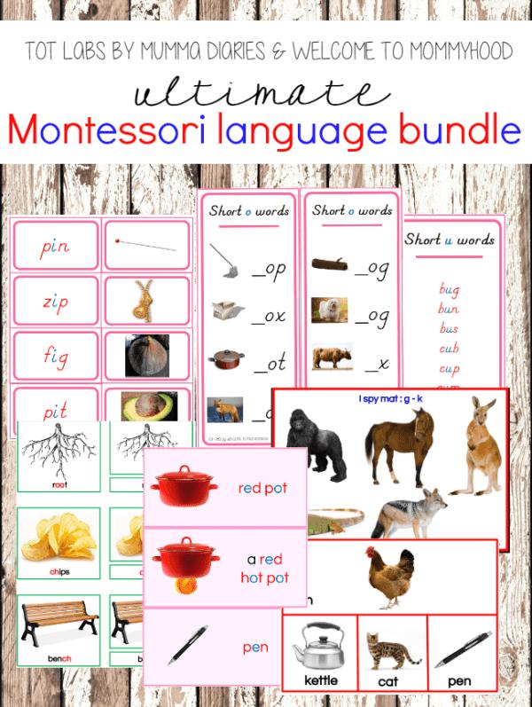 Montessori Pink Series Language Curriculum Bundle