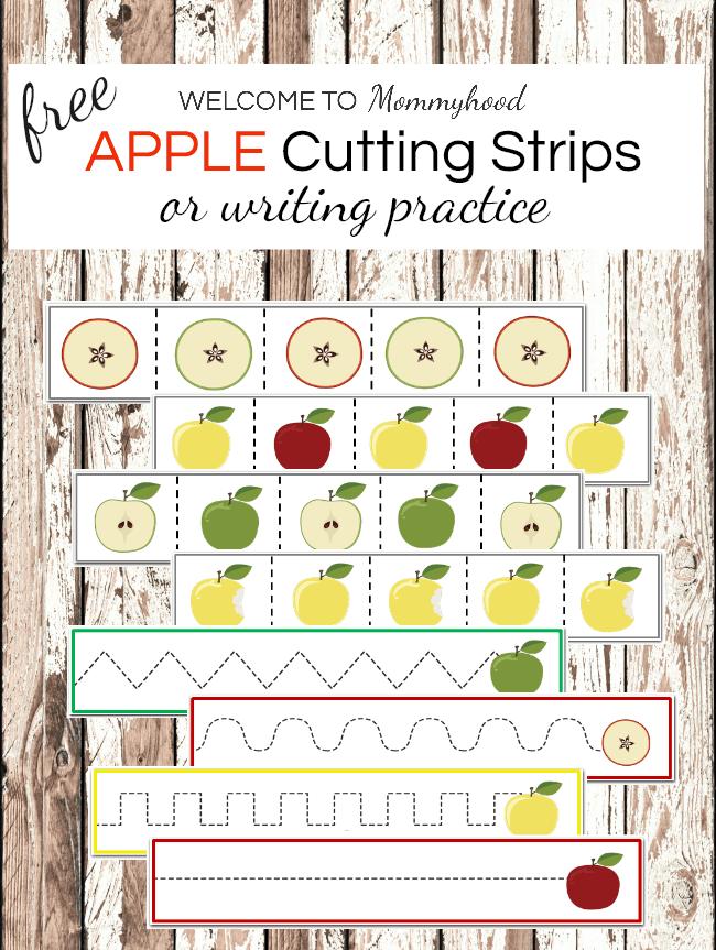 Montessori Printables: Apple Cutting Strips