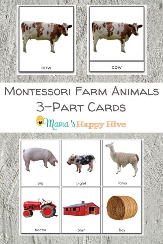 Montessori-Farm-Animals-3-Part-Cards Mama's Happy Hive #montessoriactivities