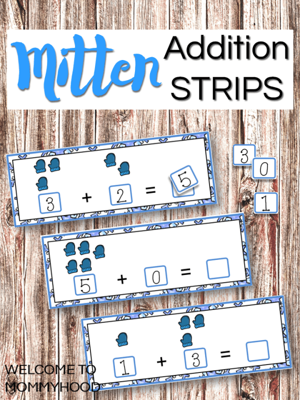 Mitten Addition Strips for hands-on math activities or math centers #mittenactivities #winteractivities