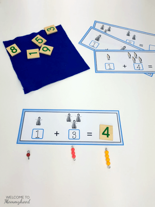 These penguin themed cards are a great way to practice simple addition. These penguin addition strips can be used in a Montessori classroom, as well, and are perfect for math centers!