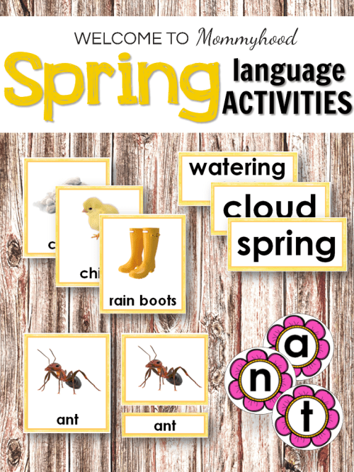 Spring Language Activities for Language Centers or hands on learning activities for kids! They will love practicing spelling and learning words about spring with these cards!