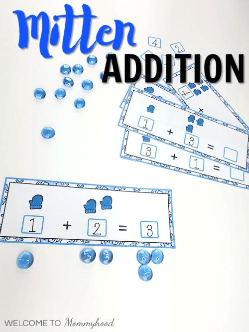 Mitten Addition Strips for hands-on math activities or math centers #mittenactivities #winteractivities