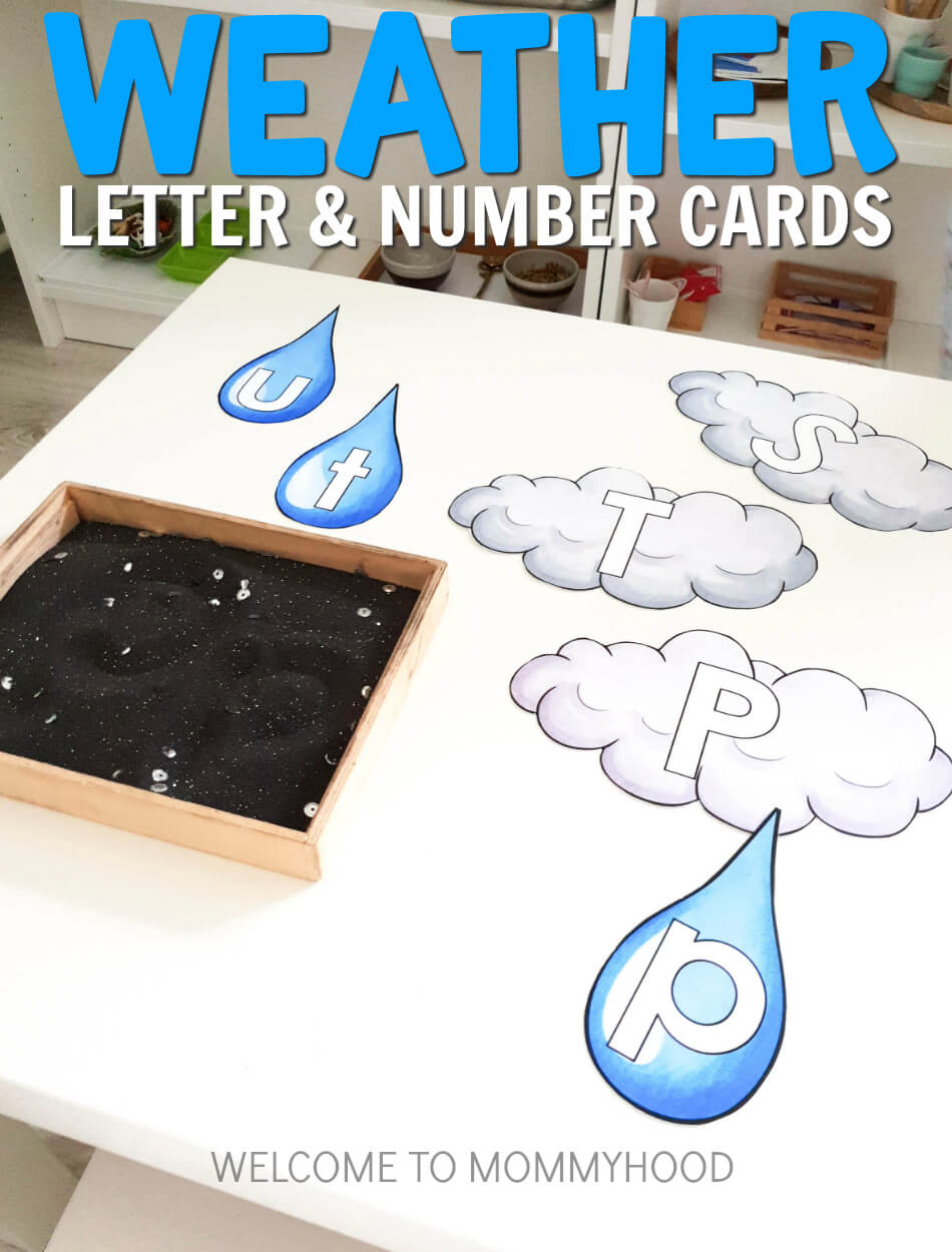 cloud letter and number cards weather theme