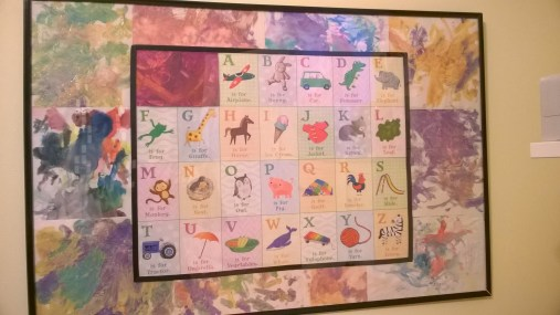 One solution I love: we used Toddler's first watercolor and finger paint paintings as a frame for a cute alphabet poster that came with her High Five magazine subscription.