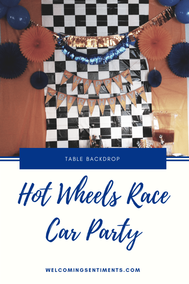 Hot Wheels Race Car Party table decoration backdrop