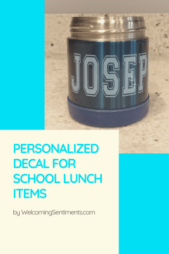 Personalized name decal for school lunch items, thermos, yeti, lunch box, mug.