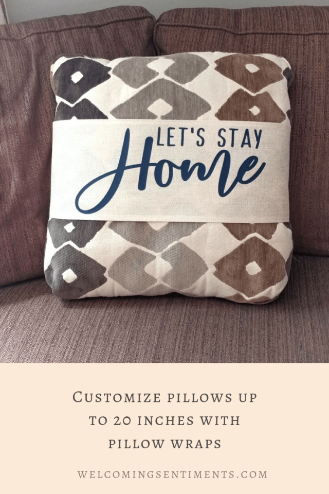 Let's Stay Home pillow wrap, custom pillow cover home decor