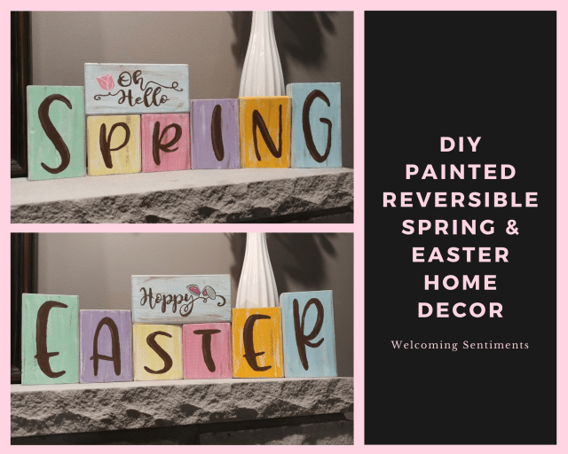 DIY Painted reversible spring and easter home decor