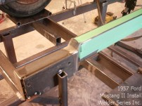 """Another angle of the kick up/out he put in the rails. A good width for a 56"""" crossmember in a custom chassis is 29-30"""" outside."""