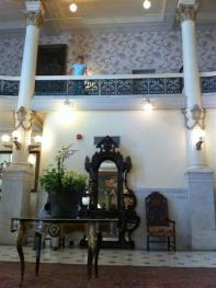 Menger Hotel's 3 story Victorian lobby. That's Dorothy on the second floor balcony of the lobby. Next picture shows what's above.