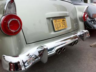 Bill Story's '56 wagon - Note the modified bumper bead line around the exhaust, the body line around the license plate.