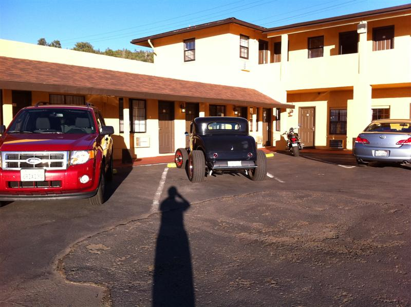 Here's what we found. Clean room, good price, walking distance to the heart of town. Straight north from Williams is the Grand Canyon, tomorrow's adventure. But tonight we'll wander down the main street of Williams.