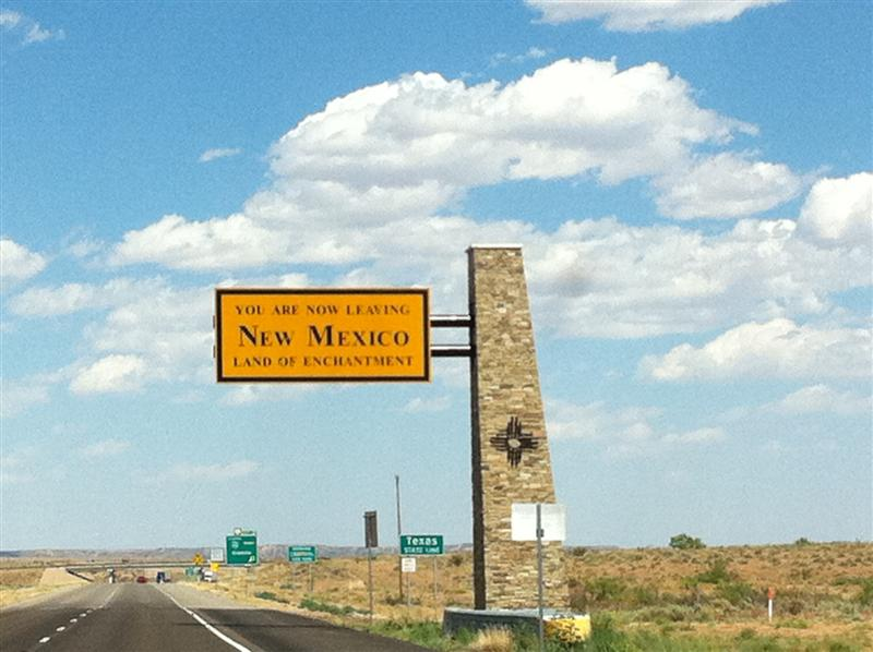 3:28 pm. After calming down and cooling off, we left New Mexico behind.