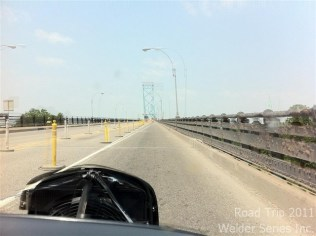 On the Ambassador Bridge which connects Windsor, Ontario, Canada with Detroit, Michigan, USA.