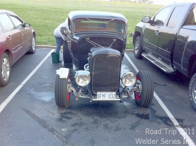 Washing the '32 at the LaQuinta in Cincinnati this morning. Lots of road grime from rain and dust.