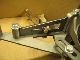 Clamping the gusset in place.