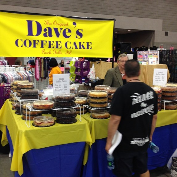 Dave can hardly believe his eyes - a coffee cake booth with his name on it, on his birthday!