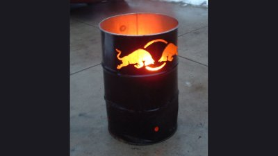 Red Bull - burning 55 gallon barrel for event