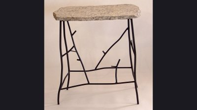 "Steel ""Twig"" Table with Granite Top - 28 in wide"