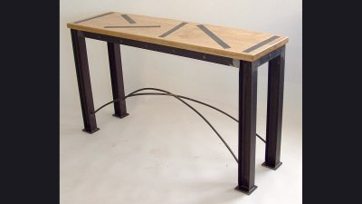 42 in Wide Table w/ Wood top / Steel Inserts