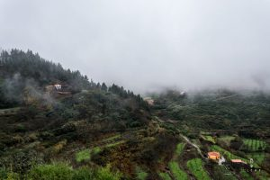 Mountain houses in the clouds in Gran Canaria
