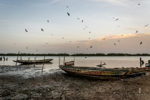 Pirogue wooden fishing boat on the shore during sunset