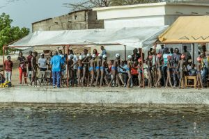 Boys ready for swimming competition in Senegal
