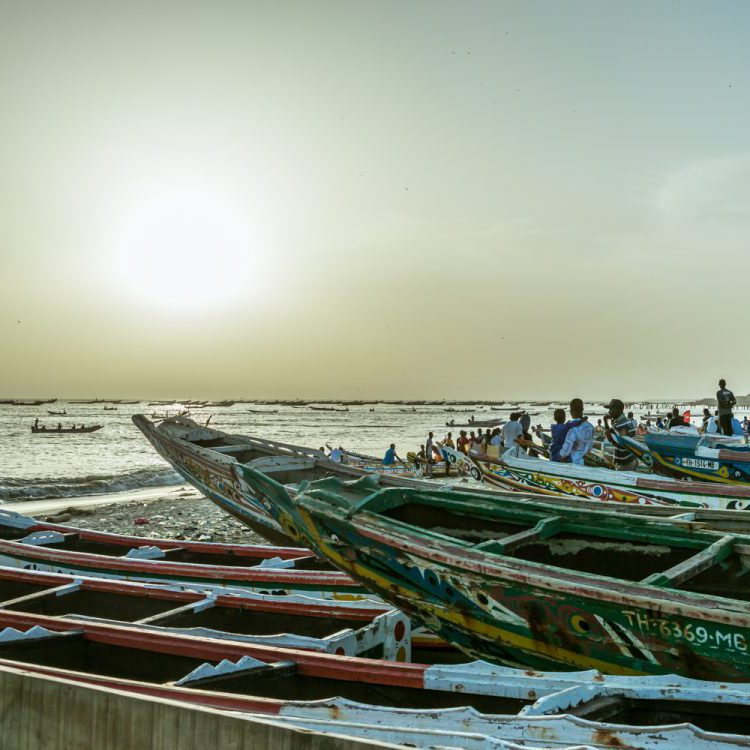 Pirogue fishing boats in Senegal
