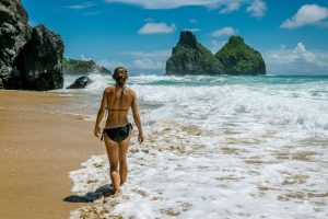 Beach girl in bikini in Fernando de Noronha