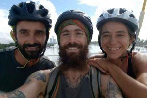 Cyclists selfie on a bridge in Recife