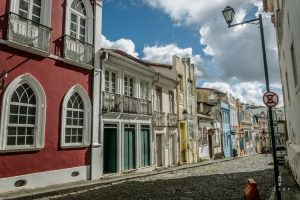 Street with colonial houses in Salvador