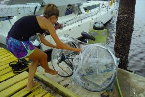 Unpacking the bicycles after three months on the sailing boat