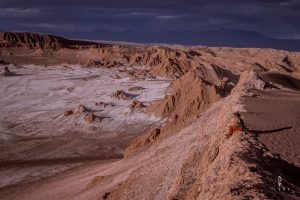 Sunset in the red coloured hills of Valle de la Luna in Chile