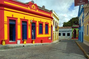 Colourful houses in an old street in Olinda