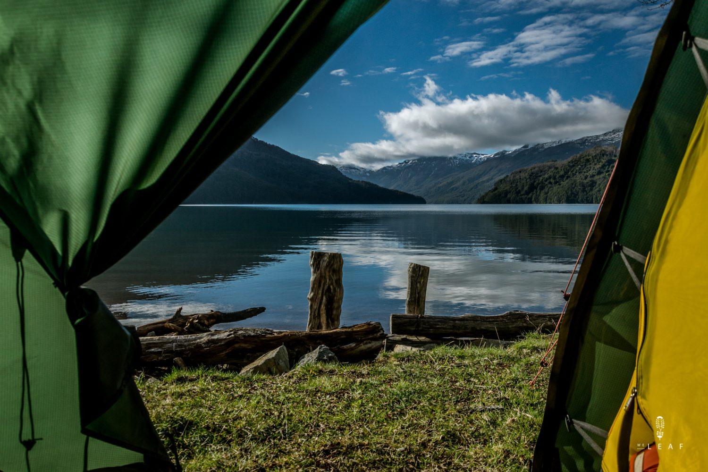 Tent view on the lago Falkner, Ruta de Siete Lagos