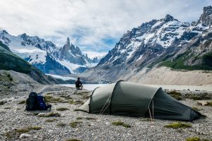 Hilleberg Nallo 3GT pitched with views on Cerro Torre in El Chalten